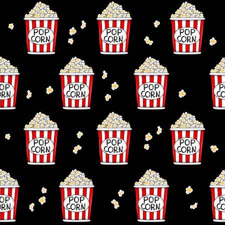 popcorn: Seamless vector pattern of buckets of popcorn on a black background.