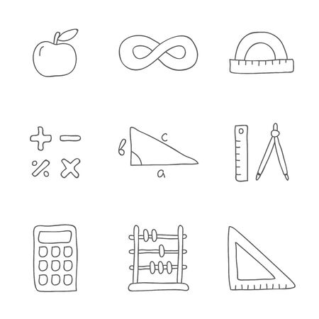 school bills: Mathematics. Vector icons on a white background, hand-drawn.