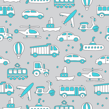 corral: Seamless vector pattern of transportation icons on the gray background, hand-drawn. Illustration