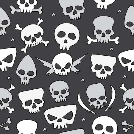 eye sockets: Seamless vector pattern of the skull icons on a black background, painted by hand.