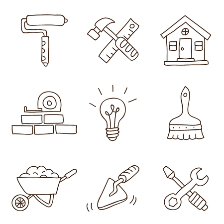 repairs: Repairs. Vector icons on a white background, hand-drawn.