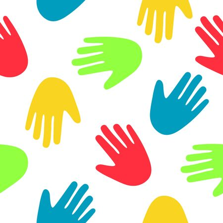 palmistry: Seamless vector abstract pattern of multicolored palms on a white background, hand-drawn.