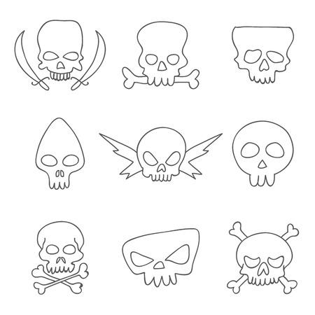 eye sockets: Skull. Vector icons on a white background, hand-drawn. Illustration