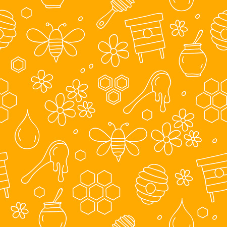 gather: Seamless vector pattern of icon of honey on a yellow background, hand-drawn