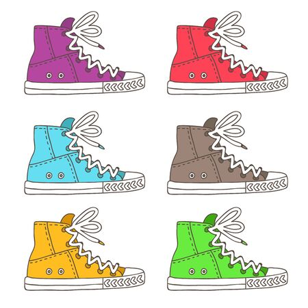 Sneakers. Vector icons, hand-drawn on a white background.
