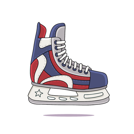 hockey skates: Mens hockey skates. Vector illustration on a white background, painted by hand. Illustration