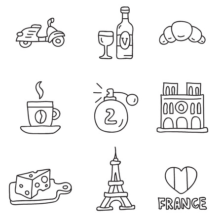 frenchman: France. Vector icons, hand-drawn on a white background. Illustration