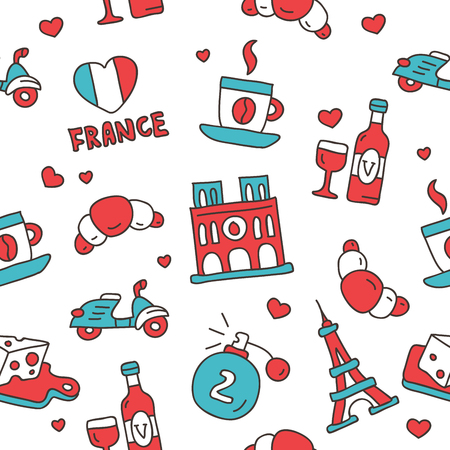 frenchman: Seamless vector pattern of the French icons on a white background, hand-drawn. Illustration