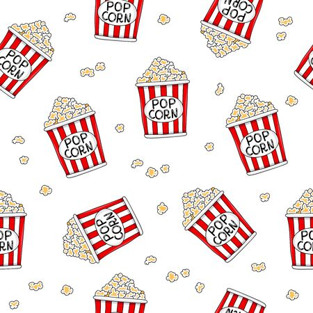 industry pattern: Seamless vector pattern of buckets of popcorn on a white background. Illustration