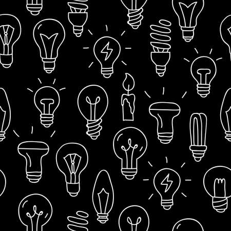 Seamless vector pattern of the different light bulbs on a black background, painted by hand.