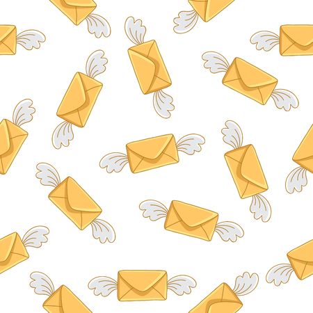 send: Seamless vector pattern of flying yellow envelope on a white background.