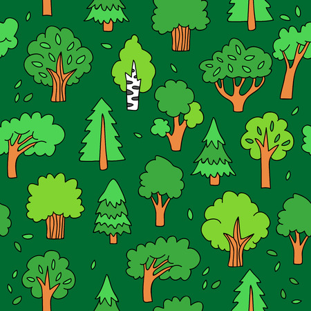 larch: Seamless vector pattern of different colored trees on a green background, painted by hand.