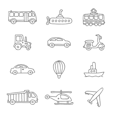corral: Transport. Vector icons on a white background, hand-drawn. Illustration