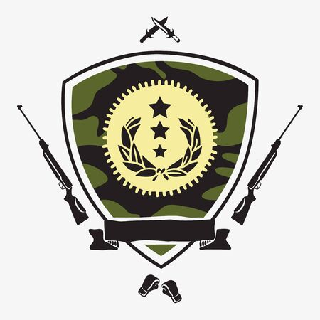 military shield: Shield camouflage color with ribbon surrounded by guns, knives, and boxing gloves. Vector illustration on light gray background. Defender of the Fatherland Day.
