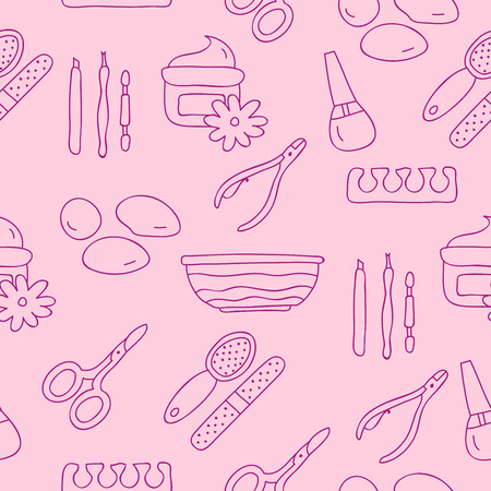 nail file: Seamless vector pattern of icon for a pedicure on a pink background, hand-drawn