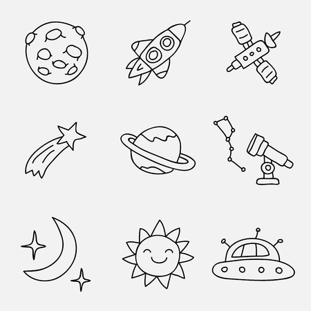 saturn rings: Space. Vector icons on a gray background, hand-drawn.