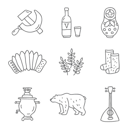 winter wheat: Russia. Vector icons on a white background, hand-drawn.