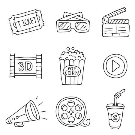 Cinéma. icônes vectorielles sur un fond blanc, tiré par la main.