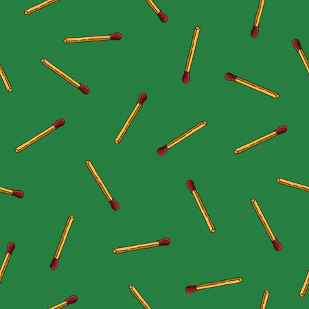 matches: Seamless vector pattern of matches on a green background.