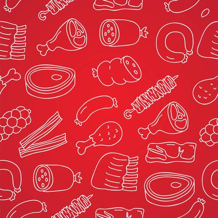 pork ribs: Seamless vector pattern of icon of meat on a red background, painted by hand.