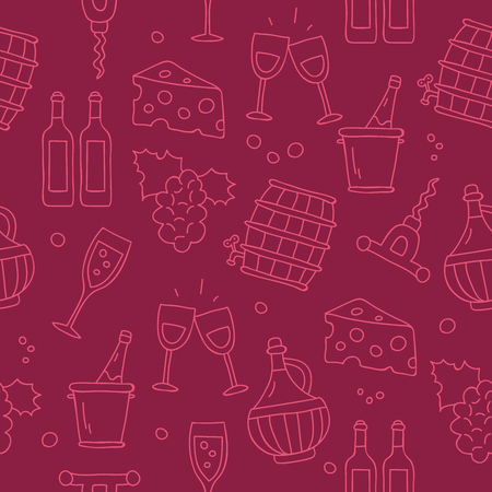 burgundy background: Seamless vector pattern of wine icons on burgundy background, painted by hand.