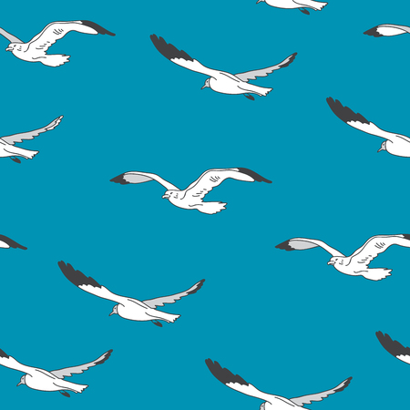 wag: Seamless vector pattern of white gulls on a blue background, painted by hand. Illustration