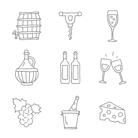 sommelier: Wine. Vector icons on a white background, hand-drawn.