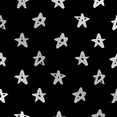 celebrities: Seamless vector pattern of silver stars on a black background, painted by hand. Illustration