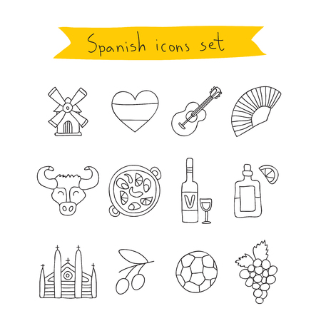 siesta: Set of icons of Spanish. Vector illustration on a white background, painted by hand.