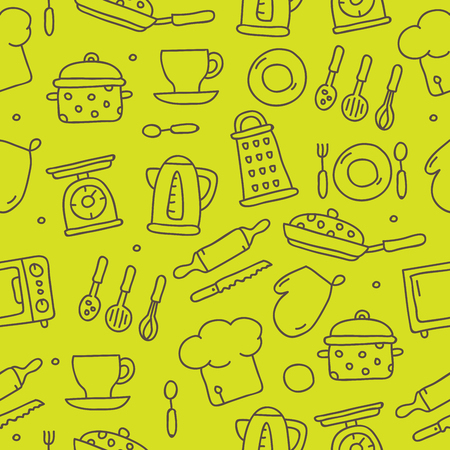 Vector seamless pattern of kitchen icons on a green background, painted by hand.