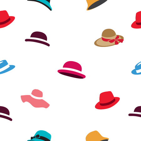 panama hat: Seamless vector pattern of different colored hats on a white background.