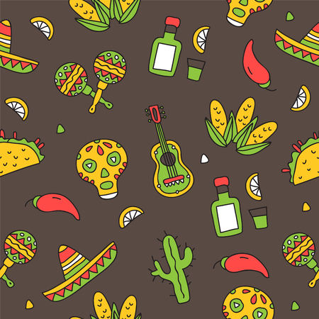 alcohol series: Seamless vector pattern of Mexican icons on a dark gray background, hand-drawn. Illustration
