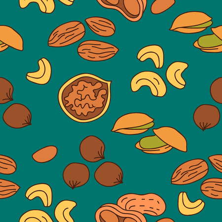 cashews: Seamless vector pattern of different nuts on a blue-green background, painted by hand.