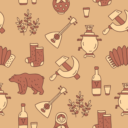 water bottles: Seamless vector pattern of Russian icons on light brown background, painted by hand.