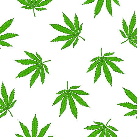 marihuana: Modelo inconsútil del vector de la marihuana deja sobre un fondo blanco. Vectores