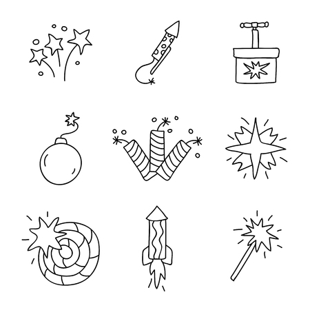pyrotechnics: Pyrotechnics. Vector icons on a white background, hand-drawn. Illustration