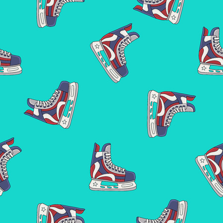 ice skates: Seamless vector pattern and the skates for hockey on a blue background, painted by hand.