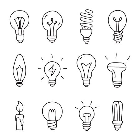 invent: Light bulbs. Vector icons on a white background, hand-drawn.