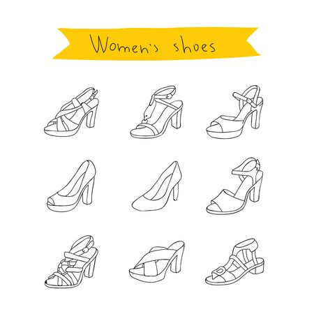 women's shoes: Womens shoes. Vector icons on a white background, hand-drawn.