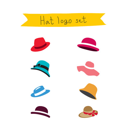panama hat: Different icons hats. Vector. White background.