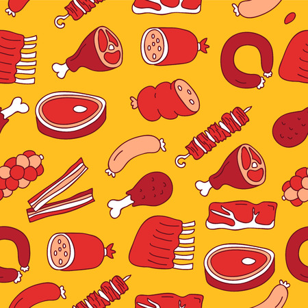 pork rib: Seamless vector pattern of meat icon on a yellow background, painted by hand.