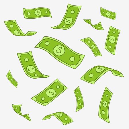 dinero volando: Modelo del vector del dinero del vuelo de papel sobre un fondo gris, dibujado a mano.