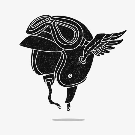 artificial wing: Motorcycle helmet with goggles and wings. Vector illustration on a gray background.