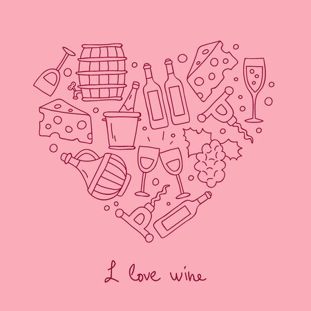 inebriation: Wine. Icons in the shape of a heart. The inscription I love wine. Vector illustration on a pink background.