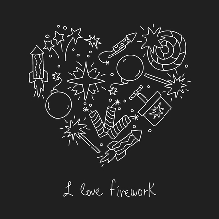 love explode: Firework. Icons in the shape of a heart. The inscription I love fireworks. Vector illustration on a black background. Illustration