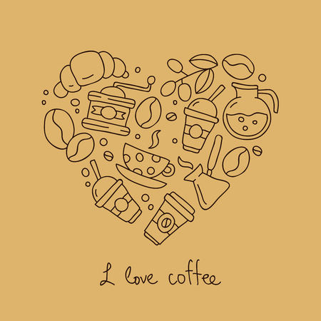 beige background: Coffee icons in the shape of a heart. The inscription I love coffee. Vector illustration on a beige background. Illustration