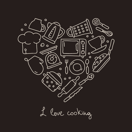 cook: Kitchen icon in the shape of a heart. The inscription I love to cook. Vector illustration on a black background. Illustration