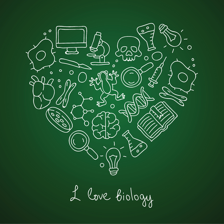 skull biology: Biology. Icons in the shape of a heart. The inscription I love biology. Vector illustration on a green background.