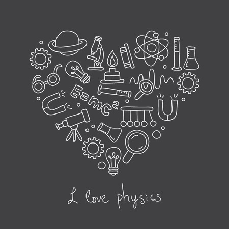 Icons in physics in the form of heart. The inscription I love physics. Vector illustration on a black background.