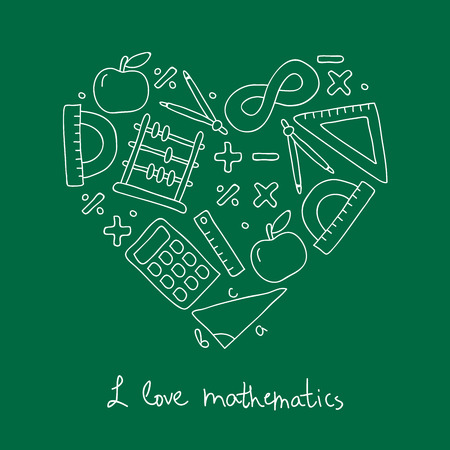 Math icon in the shape of a heart. The inscription I love math. Vector illustration on a green background. Illustration